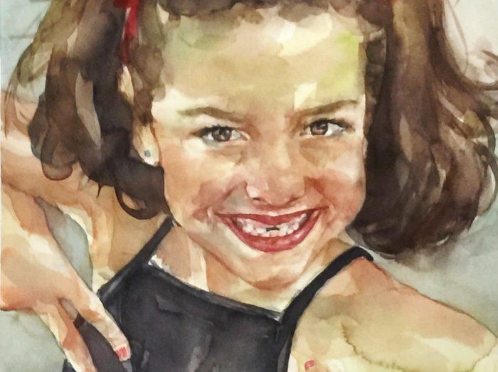 Acuarela de una niña morena muy sonriente